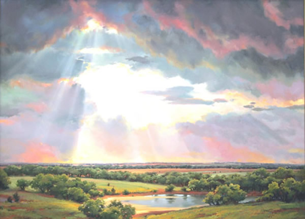 Showers of sunshine on a green landscape