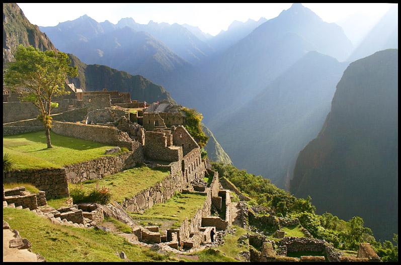 Sun rays on Machu Picchu