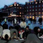 Danish Muslims praying in the street
