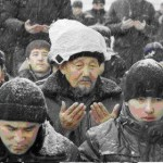 Jum'ah Prayer in Kazakhstan - an old man says duaa, sitting in the snow.