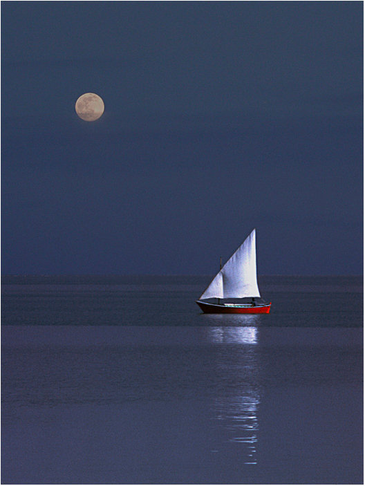 Sailboat and moon