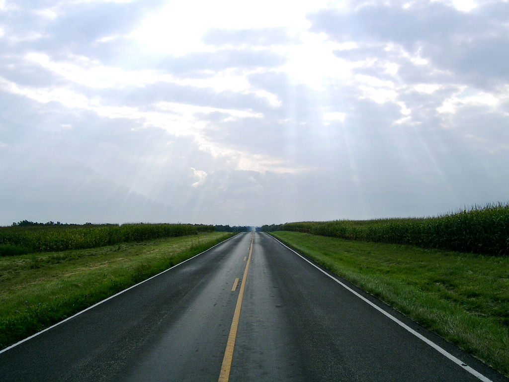 A country road and a bright sky