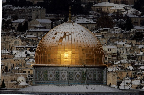 Dome of the Rock covered in snow