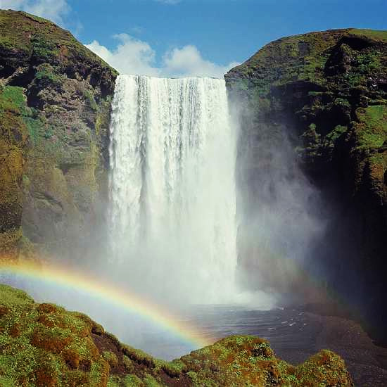 Iceland waterfall and rainbow