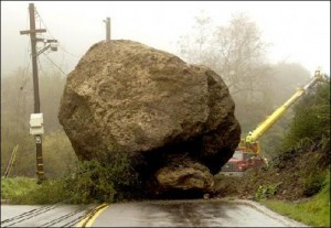 Boulder blocking the road