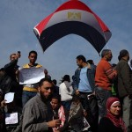 A breeze lifts the Egyptian flag
