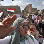 Female protester in Tahrir Square