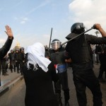 Egyptians protest gathered in Tahrir Square where some scuffles broke out with police