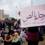 "A protester carrying a banner: ""Leave you thief! Mubarak should be tried in front of an international court."""