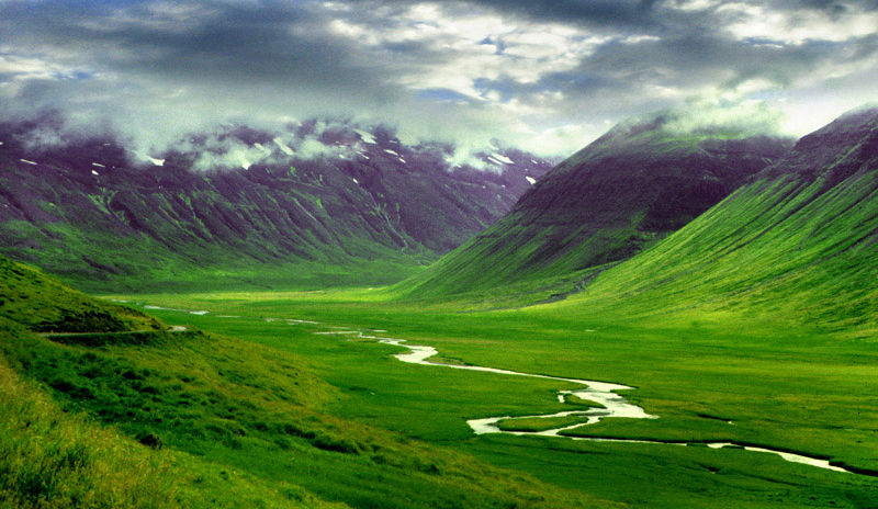 Iceland mountain valley