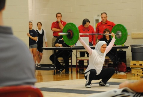 Kulsoom Abdallah, a Muslim weightlifter who wears hijab