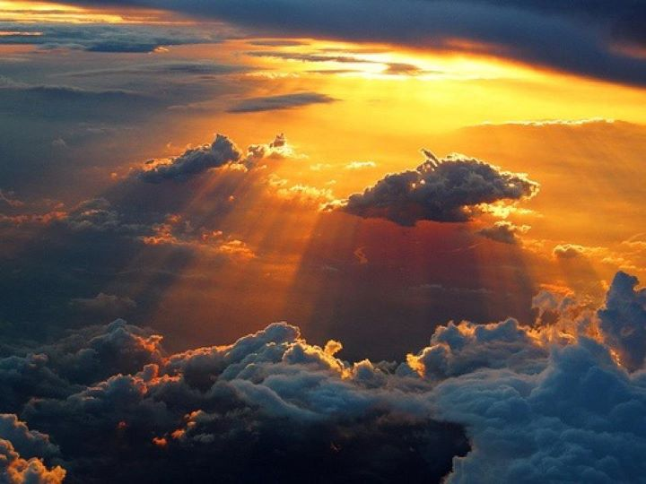 Amazing sunrays and clouds