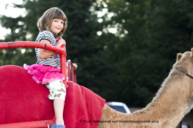 Wael's daughter Salma riding a camel.