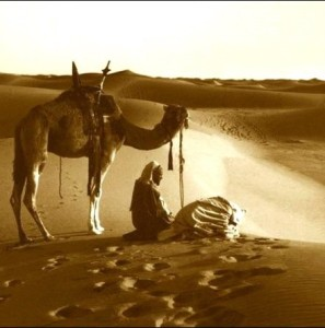 "Bedouins in the desert. The Prophet said, ""A faithful believer while in prayer is speaking in private to his Lord..."" - Bukhari"