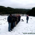 Praying in the snow, subhanAllah.