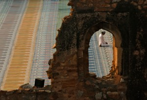 Muslim man in New Delhi prays in an ancient mosque during Eid ul-Adha.