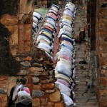 Muslims pray in an ancient demolished mosque.