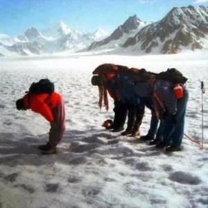 Muslims praying salat on Mt. Everest.