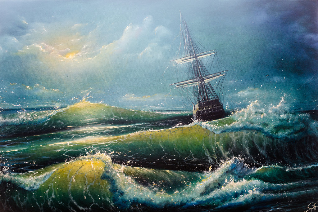 Painting of a ship on the sea.